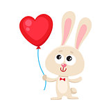 Cute and funny rabbit, bunny holding red heart shaped balloon