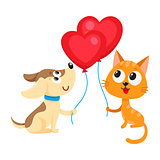 Funny dog, puppy and cat, kitten holding heart shaped balloon