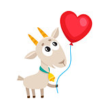 Cute and funny goat holding red heart shaped balloon