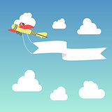 air vector banner airplene in the sky with clouds