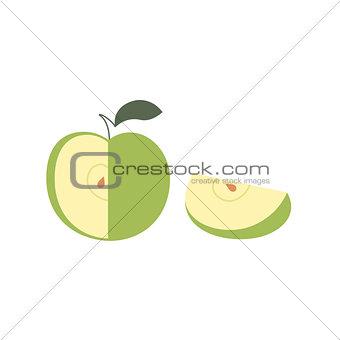 Apple fruit slice vector isolated illustration