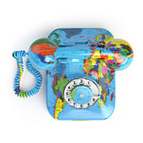 Global communication concept. Telephone with erth texture isolat