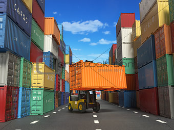 Forklift truck with cargo container in shipping yard with contai