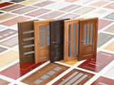 Different wooden doors on catalog with samples. Interior design