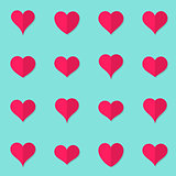Vector heart flat icons origami style