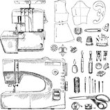Hand Drawn Sketch Sewing Set