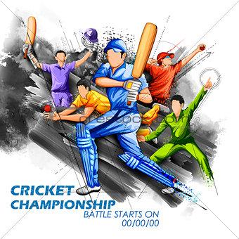 Batsman and bowler playing cricket championship sports