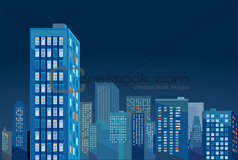 Cityscape panorama in the evening illustration.