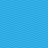 Seamless wavy pattern. White thin lines on blue background. Nautical, naval and water theme. Vector illustration