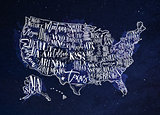 Map USA vintage blue