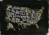 Map USA vintage chalk yellow