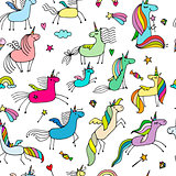 Magic unicorns, seamless pattern for your design