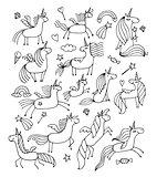 Magic unicorns design for coloring book