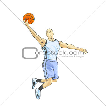 Basketball player throws the ball