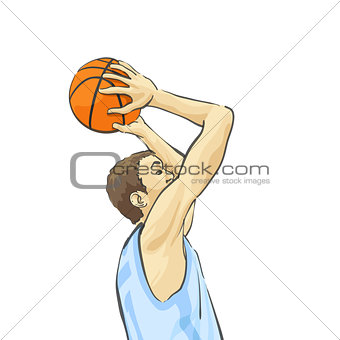 Basketball player throws the ball into the basket