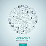 Medicine icons in round shape.