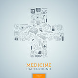 Medicine icons in cross shape.