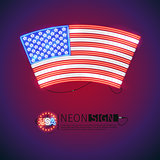 Neon Sign Arced USA Flag