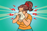 The woman is sick, runny nose and handkerchief