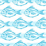 Pattern with blue fish