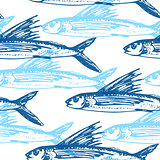Pattern with blue flying fish