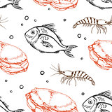 Seamless pattern with crab and fish
