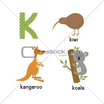 Cute zoo alphabet in vector. K letter. Funny cartoon animals: kangaroo, koala, kiwi bird