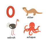 Set animals with the letter o. Otter, ostrich, octopus. Vector illustration