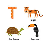 Cute zoo alphabet in vector.T letter. Funny cartoon animals: Tiger, Toucan,Tortoise