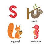 Cute zoo alphabet in vector.S letter. Funny cartoon animals: seahorse, squirrel, sloth.