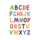 Vector cartoon alphabet white background. Cute abc design for book cover, poster, card, print on baby's clothes, pillow etc.