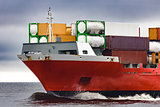 Red cargo container ship's bow