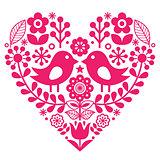 Scandinavian folk pattern with birds and flowers - pink design, Finnish inspired - Valentine's Day or birthday card