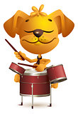 Yellow fun dog Drummer beats drums