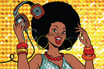 African American woman DJ with headphones