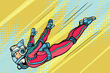 woman superhero flying in a futuristic space suit