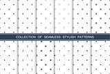 Collection of seamless stylish minimalistic patterns.