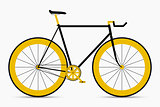 Hipster single speed bike in black and gold colors. City bicycle