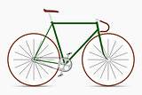 Hipster single speed bike in green and brown colors. City bicycle