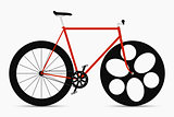 Hipster single speed bike in black and red colors. City bicycle