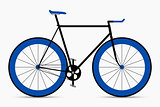 Hipster single speed bike in black and blue colors. City bicycle