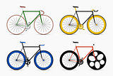Hipster single speed bikes set. City bicycles