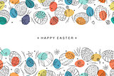 Easter egg seamless composition in doodle style. Hand drawn vector illustration.
