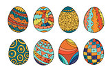 Collection of colorful easter eggs in doodle style. Hand drawn