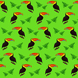 Cute colorful pattern with toucans and leaves