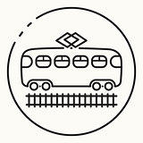 Minimal outline tram icon