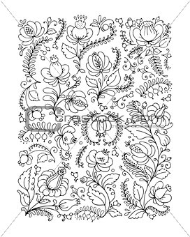 Floral ornament, sketch for your design