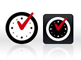 Check mark on clock. Isolated vector illustration.