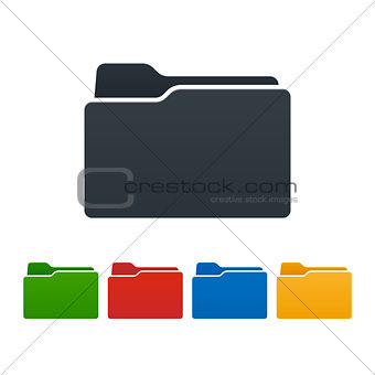 Closed folders on white background. Isolated vector illustration