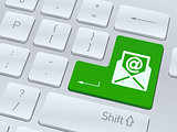 Email sign concept on button of white computer keyboard.